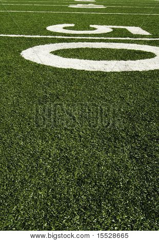 Fifty yard line of an american football field