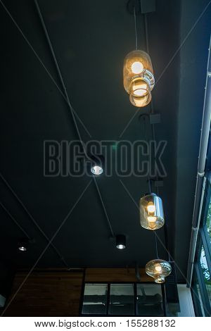 Vintage hanging light bulb decoration stock photo