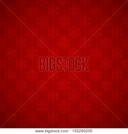 Christmas background with snowflakes, seamless red wallpaper, holiday decorations, illustration.