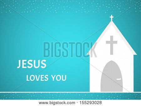 Christian Chapel On  Blue Background