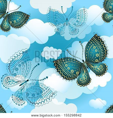 Seamless spring pattern with butterflies and translucent clouds in the sky vector eps10