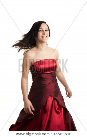 Young Woman Dress Spinning