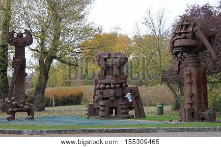 Vienna Austria - November 9 2015: sculpture composition with details of wrenches in park of Vienna Austria