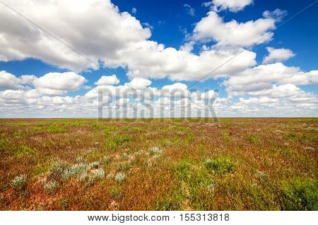 Astrakhan steppe under beautiful sky shoot in May. Spring is beautiful time. Hills are green and covered by emerald grass. Panorama of steppe near salt lake Baskunchak, Russia