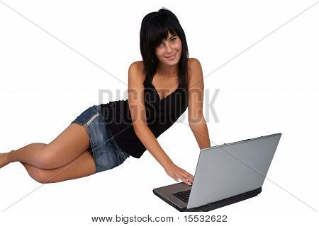 Young woman working on laptop