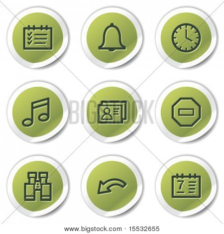 Organizer web icons, green circle stickers