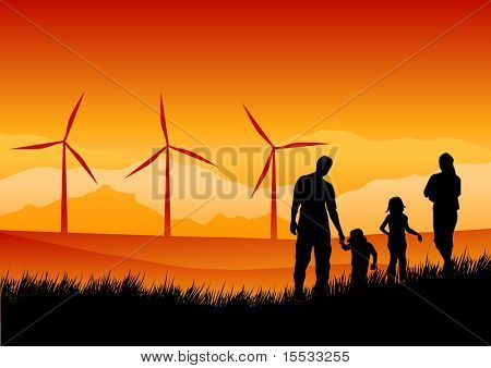 A family watching wind turbines in the distance...