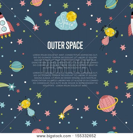 Outer space cartoon banner. Spaceship, cute alien girl and boy, stars, comet, Saturn and earth planets vector illustrations on blue background. For planetarium, astro club, childrens cafe web page
