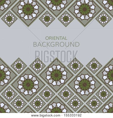 Vector geometric frame oriental style. Seamless vector borders for design. Islamic oriental background with place for text.