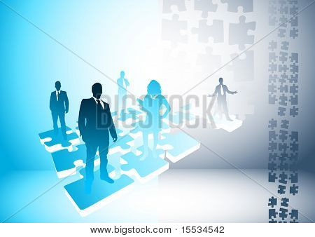 People on a puzzle. Vector illustration.