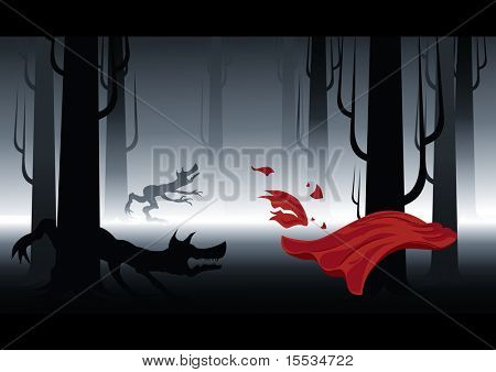 Didn't granny tell you to stick to the path in the forest? Get ready for halloween with style. Vector illustration.