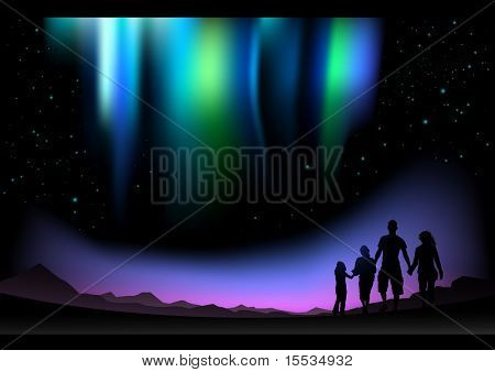 A family watch the Aurora Borealis in the north.