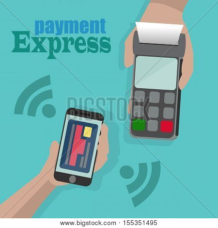 Vector Illustration of wireless payment by phone.One hand holds a payment terminal and another hand holds a mobile phone with image of credit card on the screen.