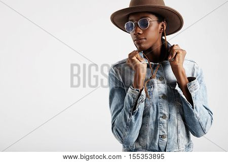 Black Woman Wears Blue Glasses And Hat