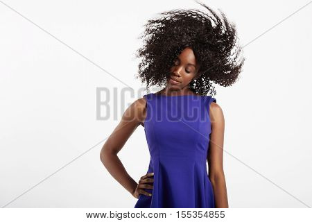 Black Woman With Afro Hair Shaking Head