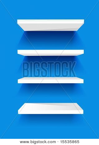 White Book Shelves on a blue painted wall. Vector background.