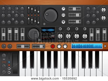 Pro Music Synthesizer/ Interface vector EPS. High Quality with lots of detail for your musical design needs!