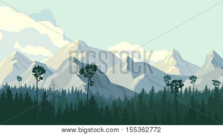 Horizontal illustration coniferous forest with rocky mountains and cloudy sky.