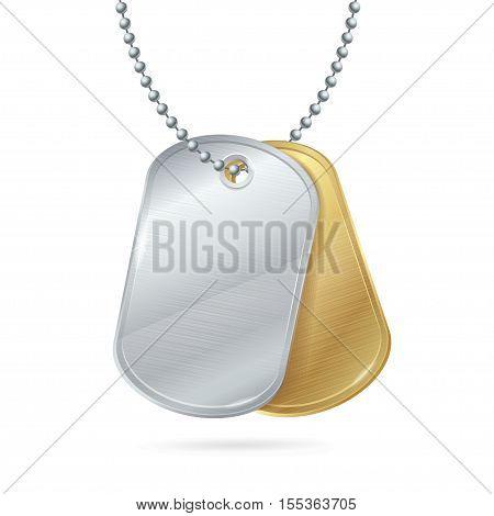 Military ID Tag Army Medallion Pair. Vector illustration