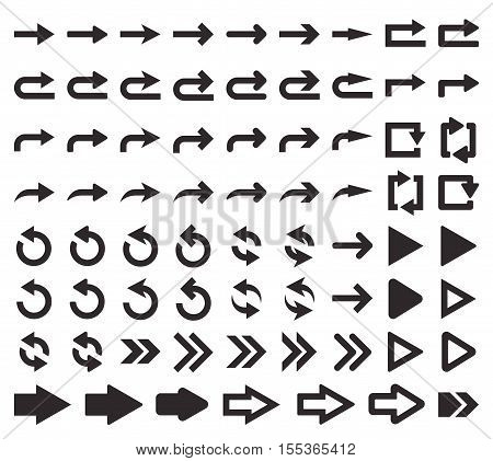 Vector illustration. Perfect pixel. Big set of arrow icons. The direction arrow. Design element for your web design, interfaces, menu, applications.