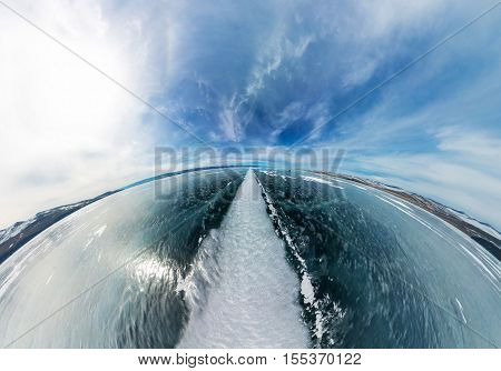Aerial Of The Great White Way To Crack The Ice Of Lake Baikal. Fish Eye