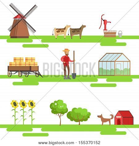 Farming Elements In Geometric Style Set Of Illustrations. Primitive Colorful Flat Vector Drawings On White Background With Symbols Associated With Farm.