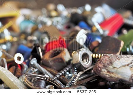 mixture of fasteners nut, bolts, screws, wire nuts ,other stuff
