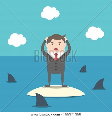 Businessman Among Sharks