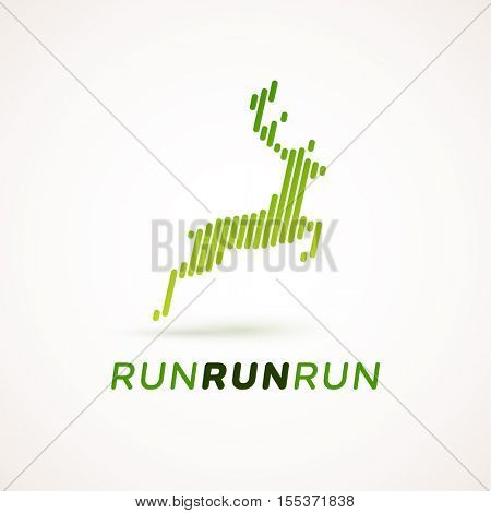 Run logotype. Running deer silhouette made out of dynamic lines. Equalizer design style. Could be used as icon or pictogram.