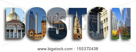 Assorted images of Boston Massachusetts in collage over white background