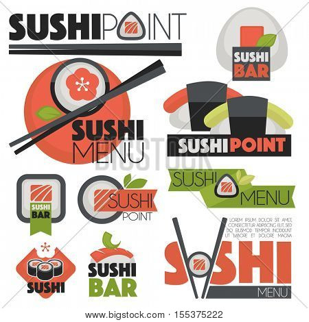 sushi banners Vector set logo and illustrations.