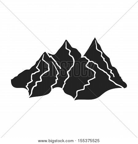 Mountain range icon in black style isolated on white background. Ski resort symbol vector illustration.