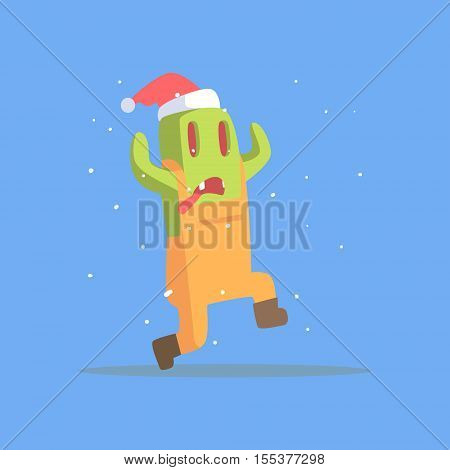 Green Featureless Monster In Dungarees Running In Winter. Funky Creature Colorful Character With Party Attributes On White Background.