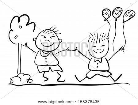 Two Happy Kids With Ballon, Friendship Symbol Sketch