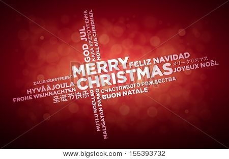 Multi language Merry Christmas typographic design. English text is in the middle of the page. Word Cloud in different languages. Vector illustration.