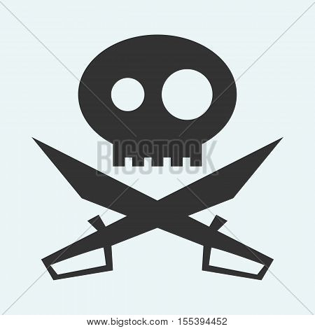 Icon of Jolly Roger symbol. Pirate, filibuster, corsair sign of crossed sabers or swords and skull. Vector emblem