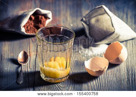 Rural Dessert Made of Yolks, Sugar And Cocoa