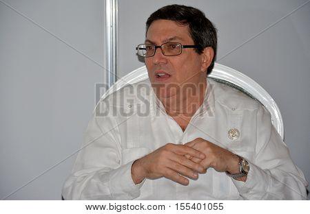 Porlamar Venezuela. September 15th 2016: Minister of Foreign Affairs of Cuba Bruno Eduardo Rodríguez Parrilla at the bilateral meeting during the Non-Aligned Movement Summit held on Margarita Island Venezuela