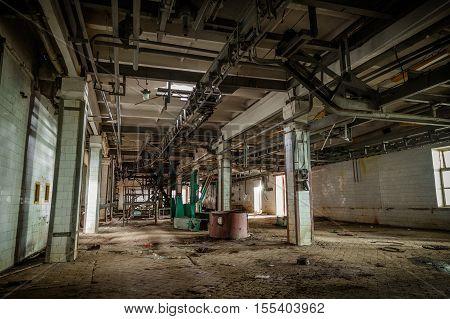 Remnant of equipment in abandoned meat Processing Plant in Alekseyevka, Belgorod region