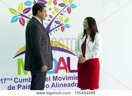 Porlamar Venezuela. September 17th 2016: Venezuelan President Nicolas Maduro and first lady Cilia Flores before the opening ceremony at the Non-Aligned Movement summit in Porlamar Margarita Island Venezuela