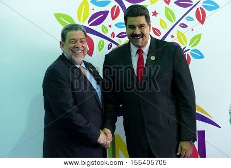 Porlamar Venezuela. September 17th 2016: Saint-Vincent and the Grenadines Prime Minister Ralph Gonsalves greets Venezuelan President Nicolas Maduro at the opening ceremony of the Non-Aligned Movement Summit in Porlamar Venezuela