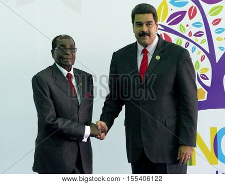 Porlamar Venezuela. September 17th 2016: President of Zimbawe Robert Mugabe and Venezuelan President Nicolas Maduro at the opening ceremony of the Non-Aligned Movement Summit in Porlamar Venezuela