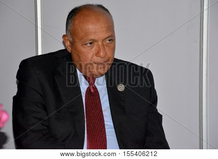 Minister of Foreign Affairs of Egypt Sameh Hassan Shoukry at the 17th Summit of the Non-Aligned Movement in Porlamar Margarita Island Venezuela on September 17 2016.