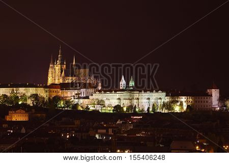 View of the castle and St. Vitus cathedral in Prague