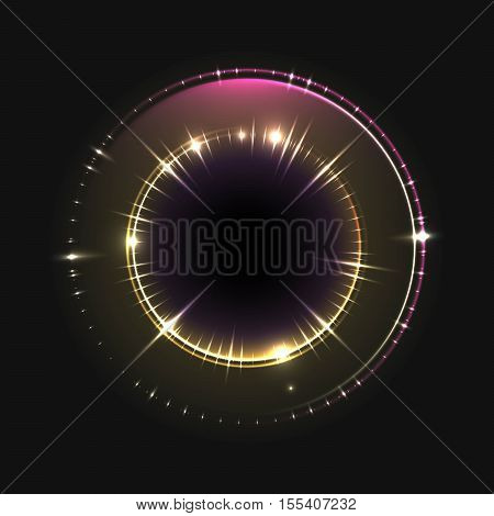 Abstract circle background with glowing swirling round. Luminous spiral. The energy shine flows tunnel frame with light circle effects. Vector illustration