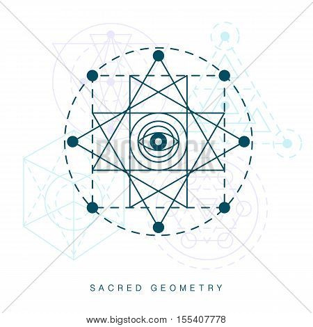 Sacred geometry sign. Linear Modern Art. Alchemy religion creativity hipster symbol, logotype