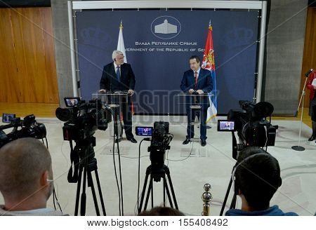 Belgrade Serbia. September 30th 2016: Poland Minister of Foreign Affairs Witold Waszczykowski in the Official visit to Republic of Serbia meeting with Minister of Foreign Affairs of Republic of Serbia Ivica Dacic