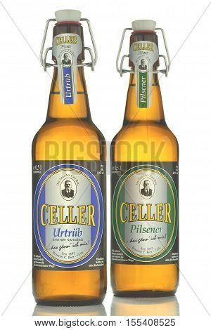 CIRCA OCTOBER 2016 - GDANSK: Celler pilsener urtrub beer isolated on white background. Celler pilsener is brewed in Brauerei Carl Betz in Celle, Lower Saxony, Germany.