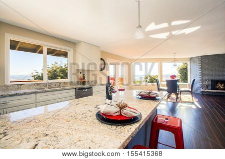 Bright Interior Of Kitchen With Kitchen Island Close Up