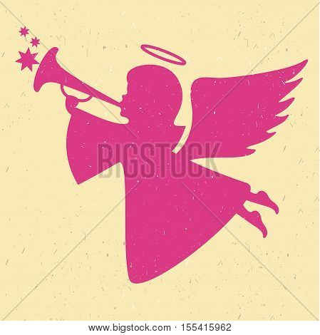 Vector angel silhouette on a light background